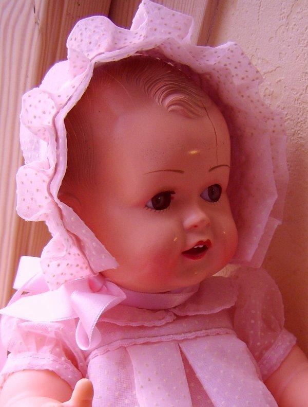 ensemble robe beguin bebe raynal caroline 38 cm -* plumetis rose -